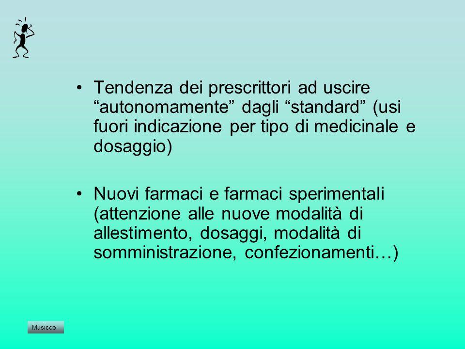 Tendenza dei prescrittori ad uscire autonomamente dagli standard (usi fuori indicazione per tipo di medicinale e dosaggio) Nuovi farmaci e farmaci spe