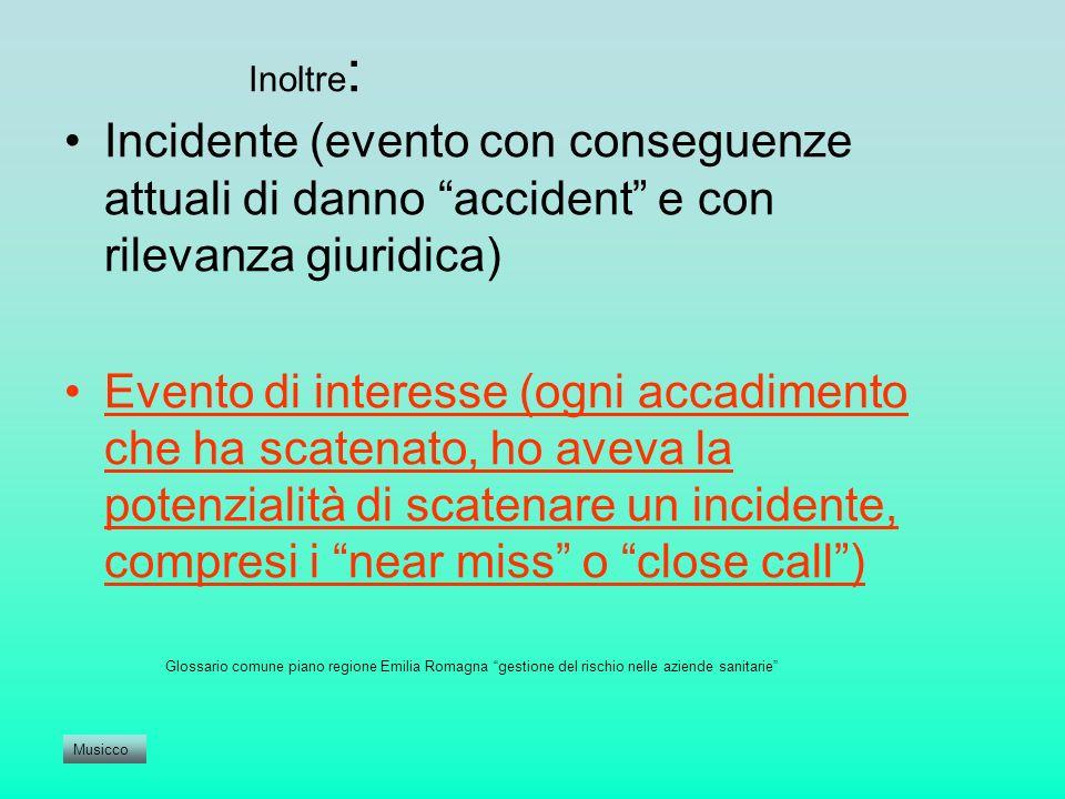 Inoltre : Incidente (evento con conseguenze attuali di danno accident e con rilevanza giuridica) Evento di interesse (ogni accadimento che ha scatenat