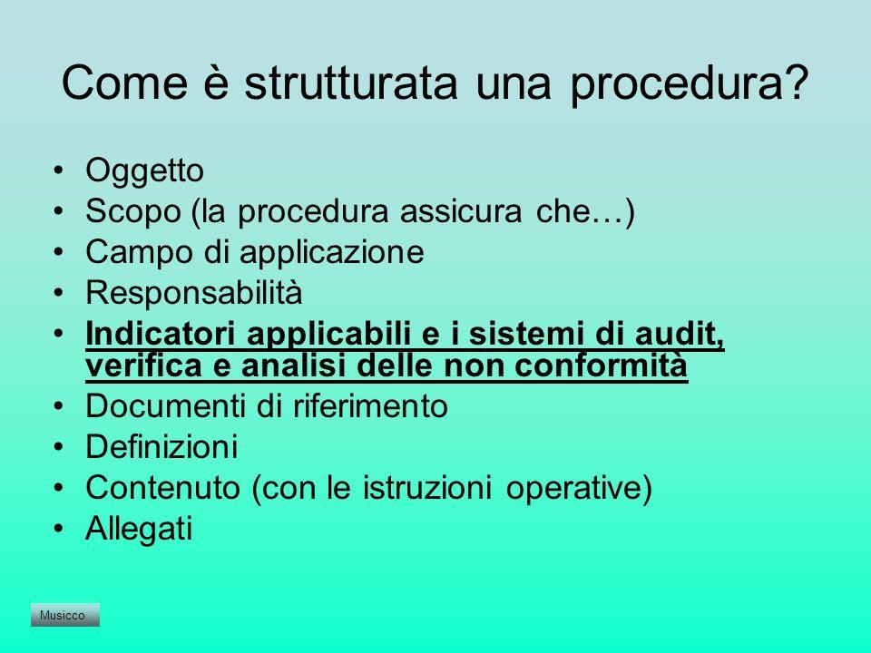 Come è strutturata una procedura? Oggetto Scopo (la procedura assicura che…) Campo di applicazione Responsabilità Indicatori applicabili e i sistemi d