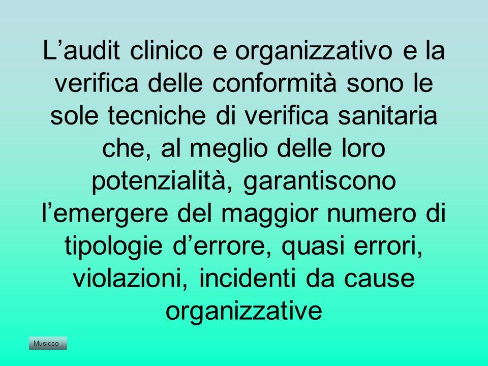 Laudit clinico e organizzativo e la verifica delle conformità sono le sole tecniche di verifica sanitaria che, al meglio delle loro potenzialità, gara