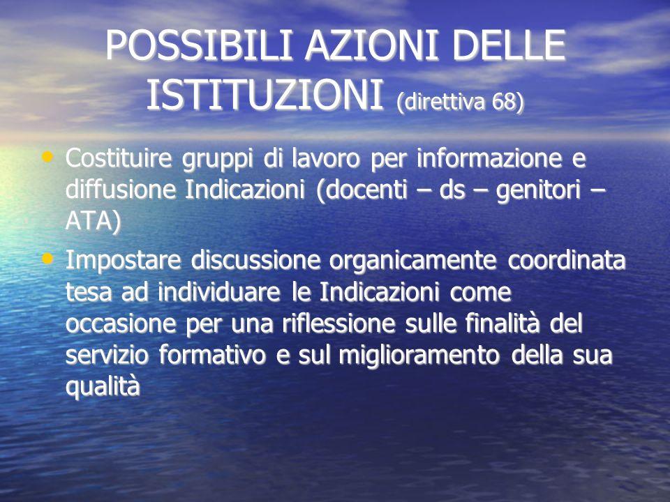 POSSIBILI AZIONI DELLE ISTITUZIONI (direttiva 68) Costituire gruppi di lavoro per informazione e diffusione Indicazioni (docenti – ds – genitori – ATA