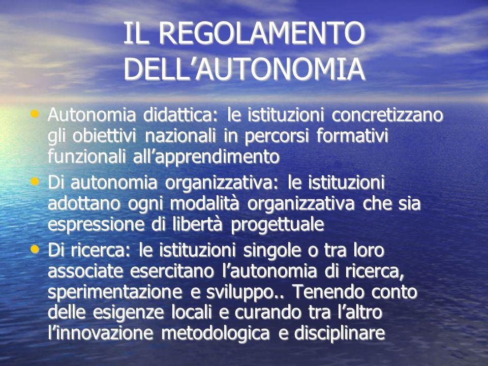 IL REGOLAMENTO DELLAUTONOMIA Autonomia didattica: le istituzioni concretizzano gli obiettivi nazionali in percorsi formativi funzionali allapprendimen