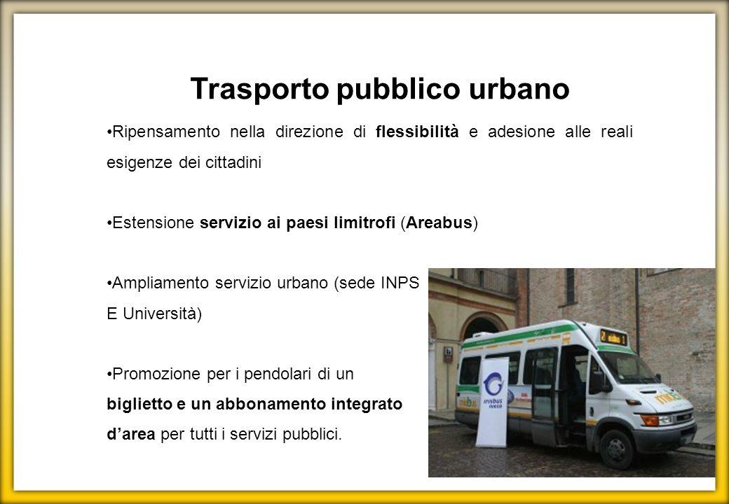 Trasporto pubblico urbano Ripensamento nella direzione di flessibilità e adesione alle reali esigenze dei cittadini Estensione servizio ai paesi limit