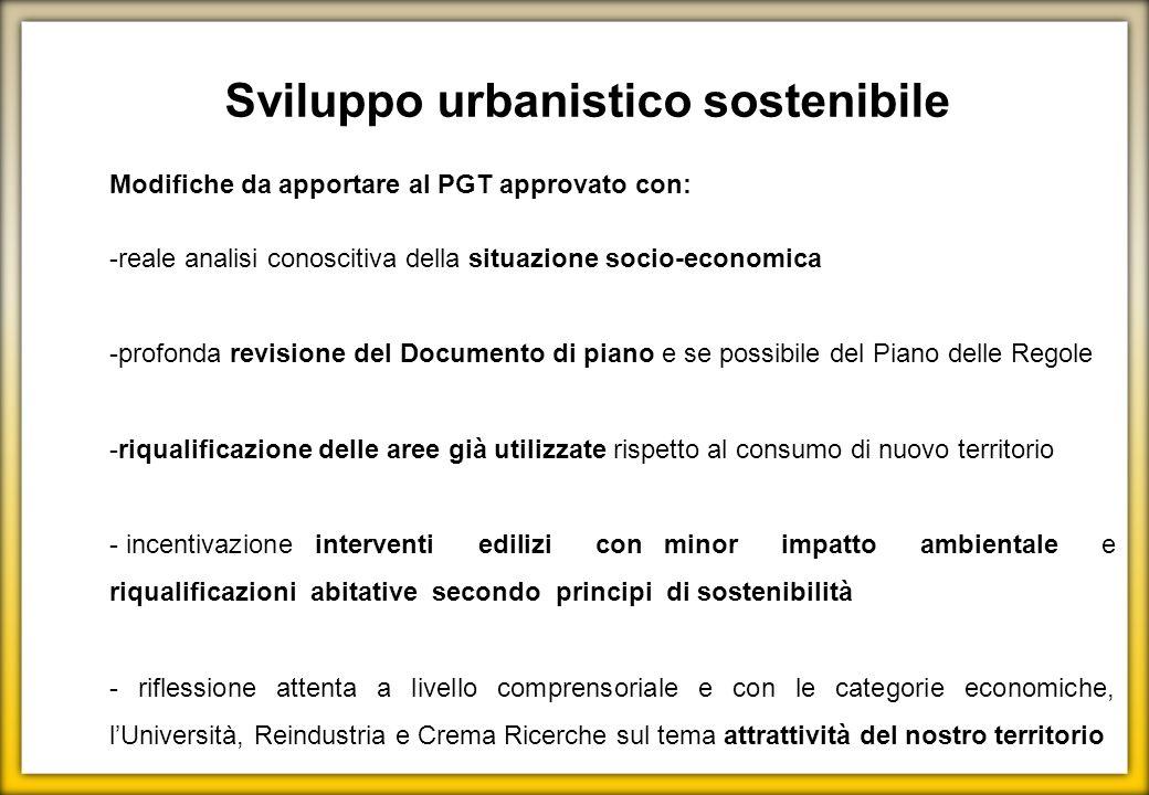 Modifiche da apportare al PGT approvato con: -reale analisi conoscitiva della situazione socio-economica -profonda revisione del Documento di piano e