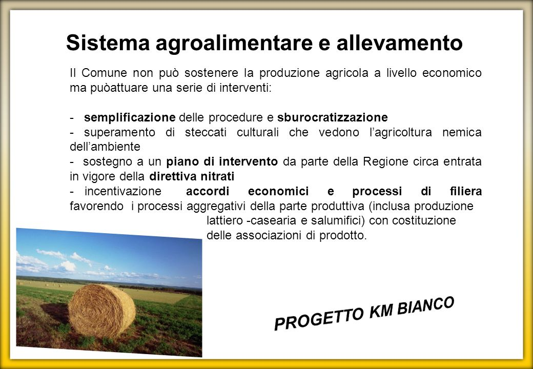 Sistema agroalimentare e allevamento Il Comune non può sostenere la produzione agricola a livello economico ma puòattuare una serie di interventi: - s