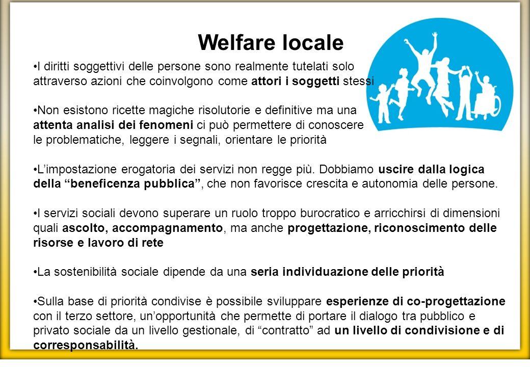 Welfare locale I diritti soggettivi delle persone sono realmente tutelati solo attraverso azioni che coinvolgono come attori i soggetti stessi Non esi