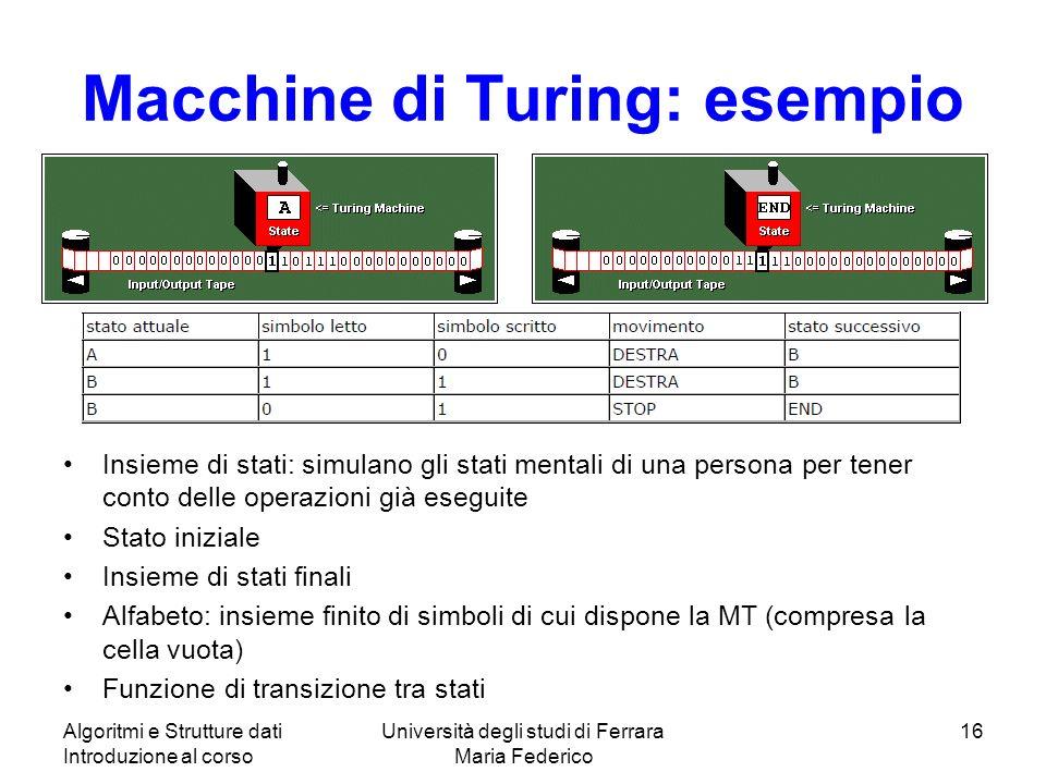 Macchine di Turing: esempio Insieme di stati: simulano gli stati mentali di una persona per tener conto delle operazioni già eseguite Stato iniziale I