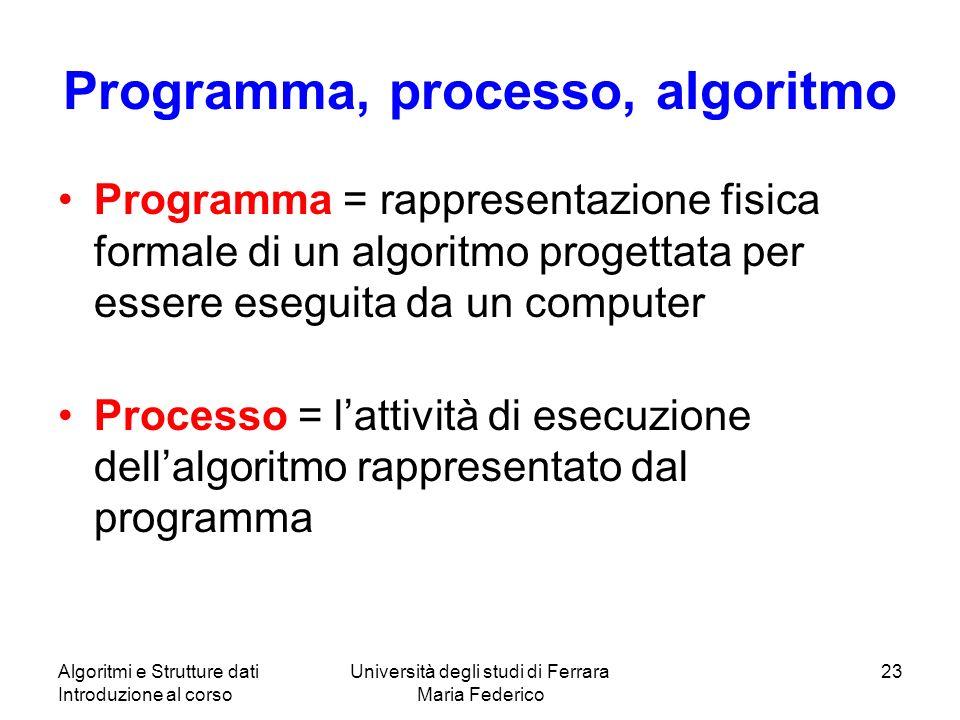 Algoritmi e Strutture dati Introduzione al corso Università degli studi di Ferrara Maria Federico 23 Programma, processo, algoritmo Programma = rappre