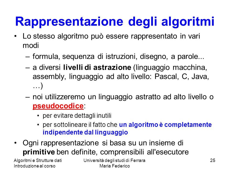 Algoritmi e Strutture dati Introduzione al corso Università degli studi di Ferrara Maria Federico 25 Rappresentazione degli algoritmi Lo stesso algori