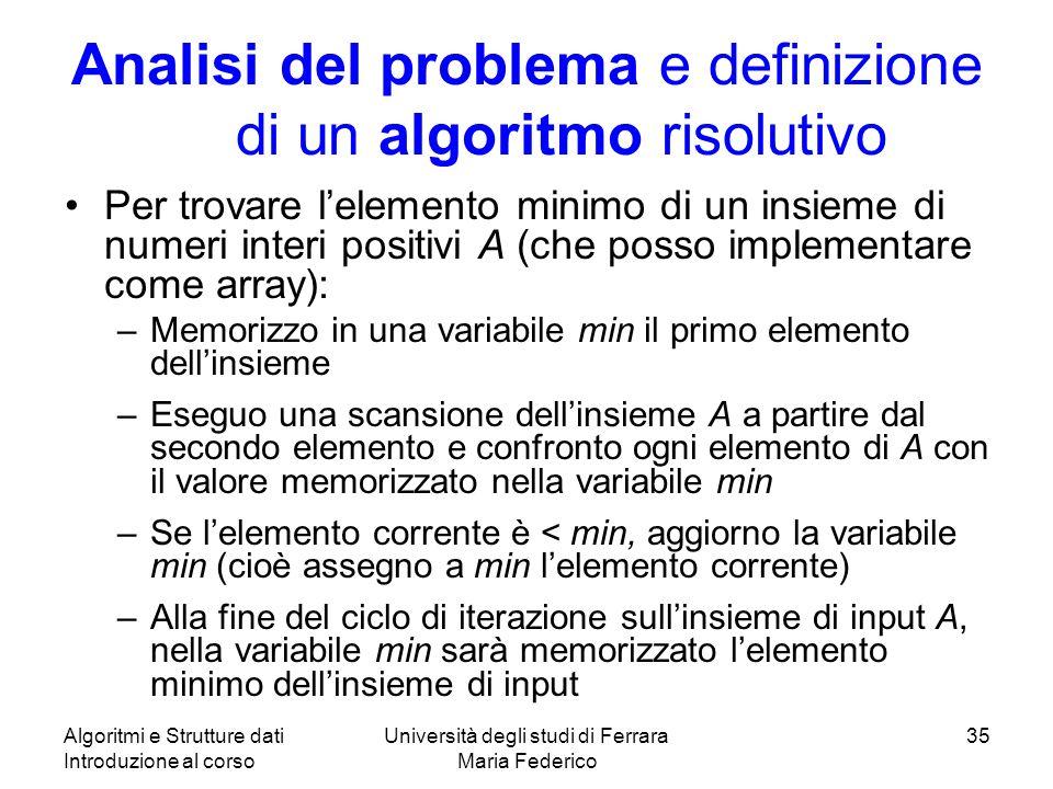 Algoritmi e Strutture dati Introduzione al corso Università degli studi di Ferrara Maria Federico 35 Analisi del problema e definizione di un algoritm