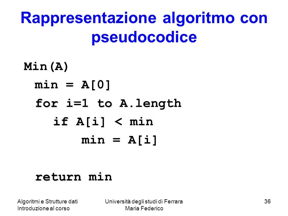 Algoritmi e Strutture dati Introduzione al corso Università degli studi di Ferrara Maria Federico 36 Rappresentazione algoritmo con pseudocodice Min(A