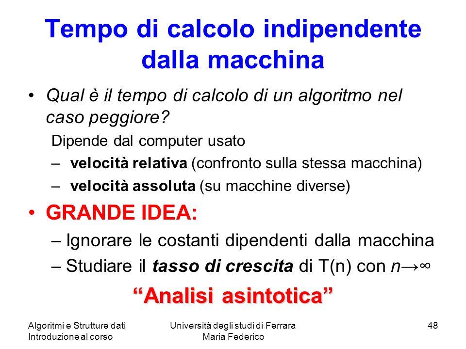 Algoritmi e Strutture dati Introduzione al corso Università degli studi di Ferrara Maria Federico 48 Tempo di calcolo indipendente dalla macchina Qual