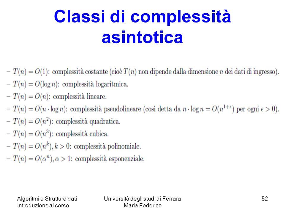 Classi di complessità asintotica Algoritmi e Strutture dati Introduzione al corso Università degli studi di Ferrara Maria Federico 52
