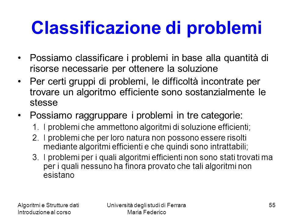 Algoritmi e Strutture dati Introduzione al corso Università degli studi di Ferrara Maria Federico 55 Classificazione di problemi Possiamo classificare