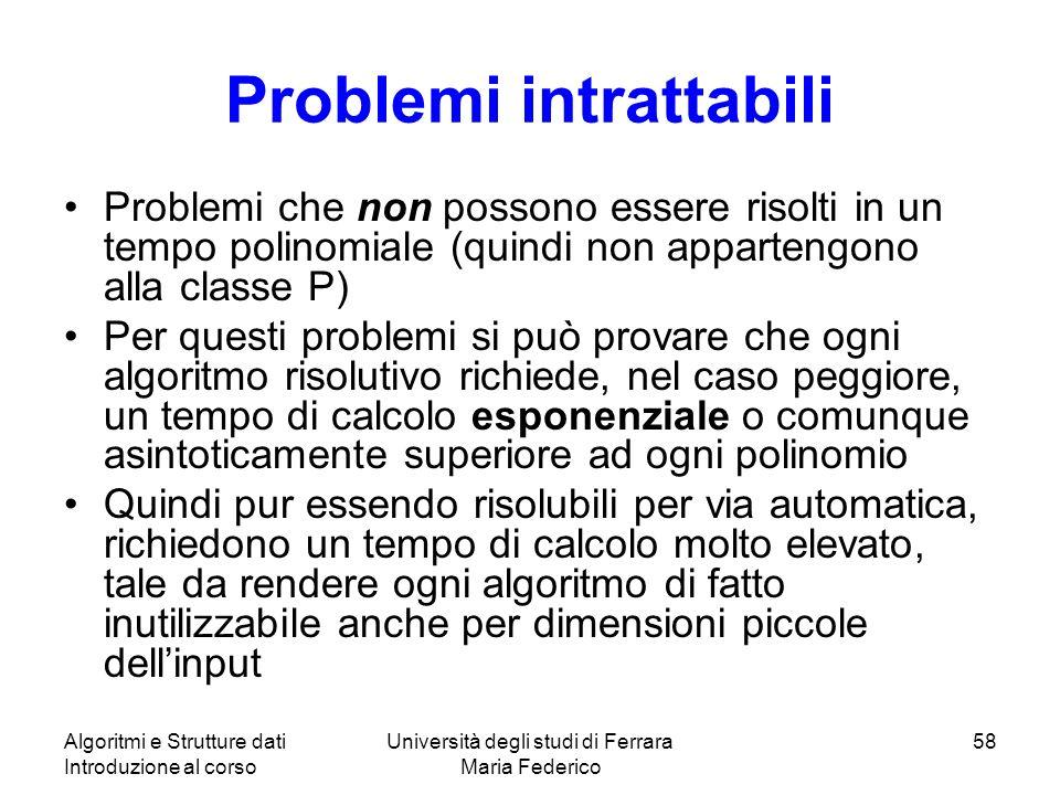 Algoritmi e Strutture dati Introduzione al corso Università degli studi di Ferrara Maria Federico 58 Problemi intrattabili Problemi che non possono es