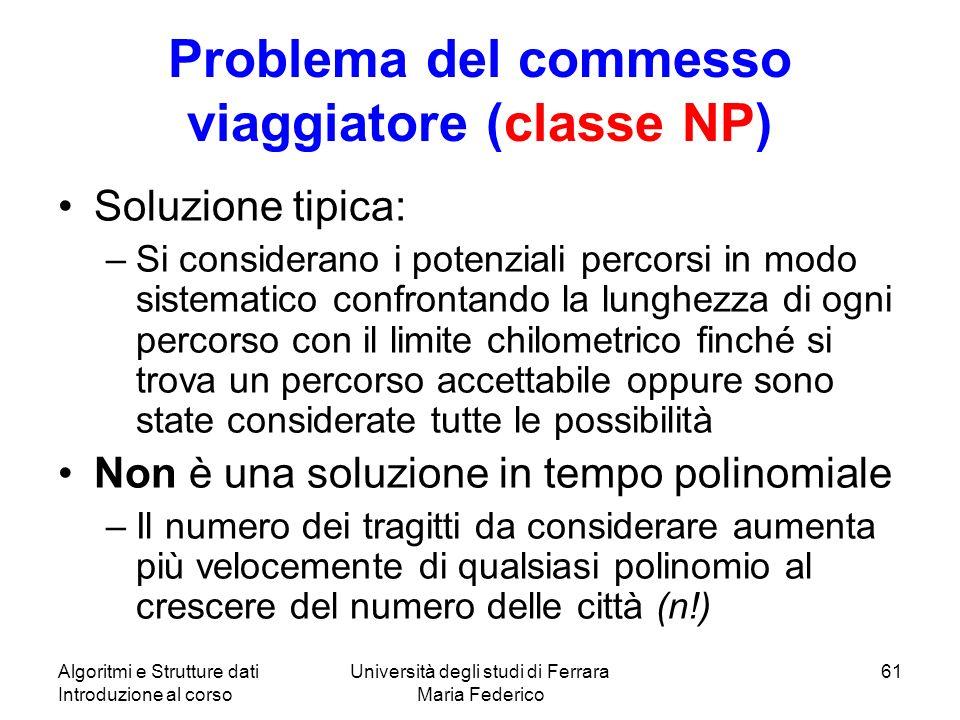 Algoritmi e Strutture dati Introduzione al corso Università degli studi di Ferrara Maria Federico 61 Problema del commesso viaggiatore (classe NP) Sol