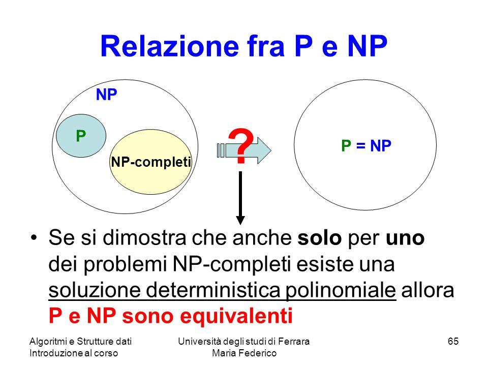 Algoritmi e Strutture dati Introduzione al corso Università degli studi di Ferrara Maria Federico 65 Relazione fra P e NP P NP P = NP ? Se si dimostra