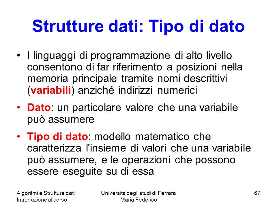 Algoritmi e Strutture dati Introduzione al corso Università degli studi di Ferrara Maria Federico 67 Strutture dati: Tipo di dato I linguaggi di progr