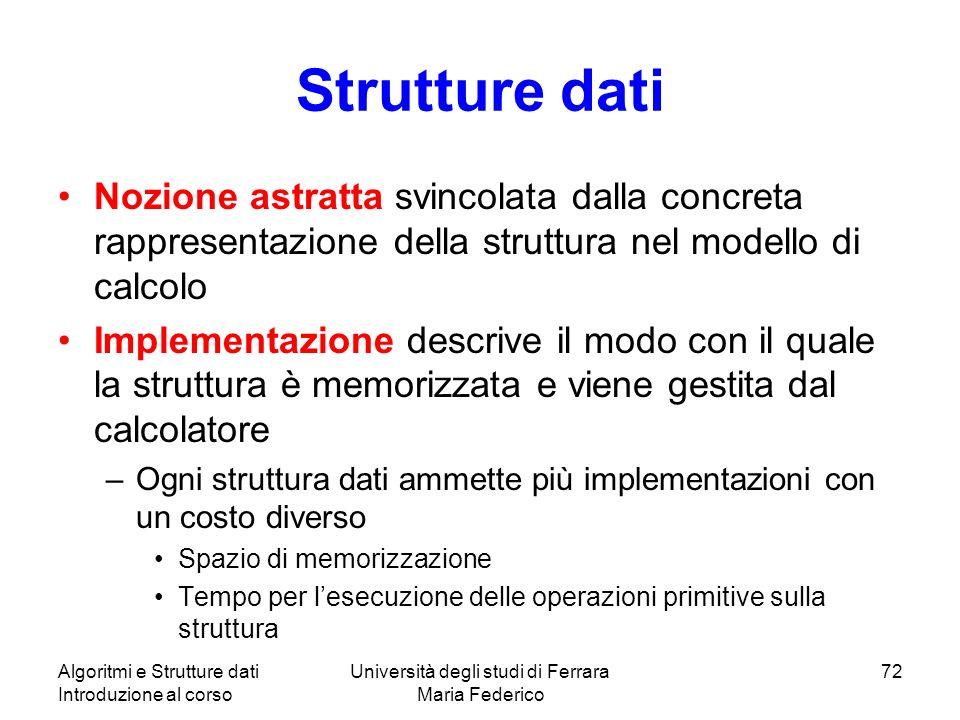 Algoritmi e Strutture dati Introduzione al corso Università degli studi di Ferrara Maria Federico 72 Strutture dati Nozione astratta svincolata dalla