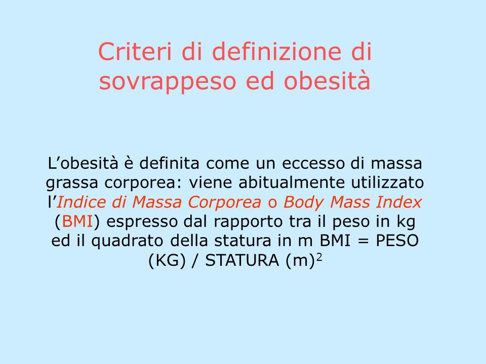 Criteri di definizione di sovrappeso ed obesità Lobesità è definita come un eccesso di massa grassa corporea: viene abitualmente utilizzato lIndice di Massa Corporea o Body Mass Index (BMI) espresso dal rapporto tra il peso in kg ed il quadrato della statura in m BMI = PESO (KG) / STATURA (m) 2
