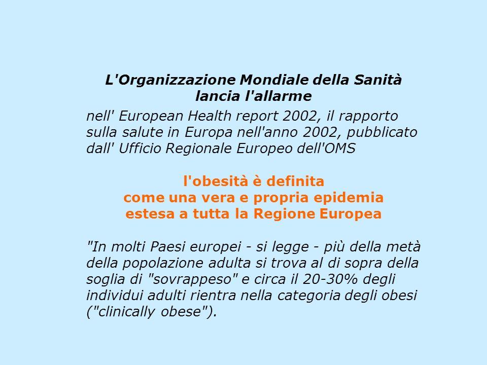 L'Organizzazione Mondiale della Sanità lancia l'allarme nell' European Health report 2002, il rapporto sulla salute in Europa nell'anno 2002, pubblica
