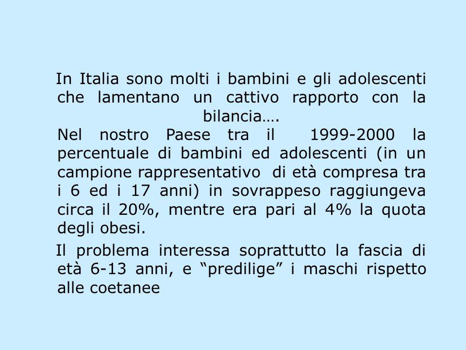 In Italia sono molti i bambini e gli adolescenti che lamentano un cattivo rapporto con la bilancia…. Nel nostro Paese tra il 1999-2000 la percentuale