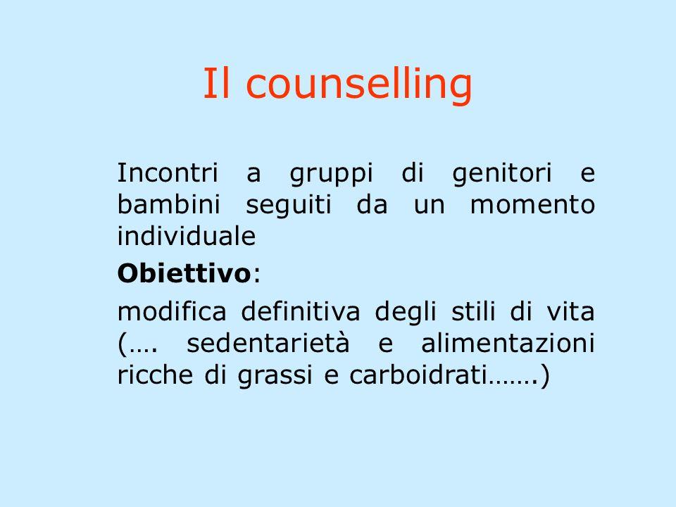 Il counselling Incontri a gruppi di genitori e bambini seguiti da un momento individuale Obiettivo: modifica definitiva degli stili di vita (….