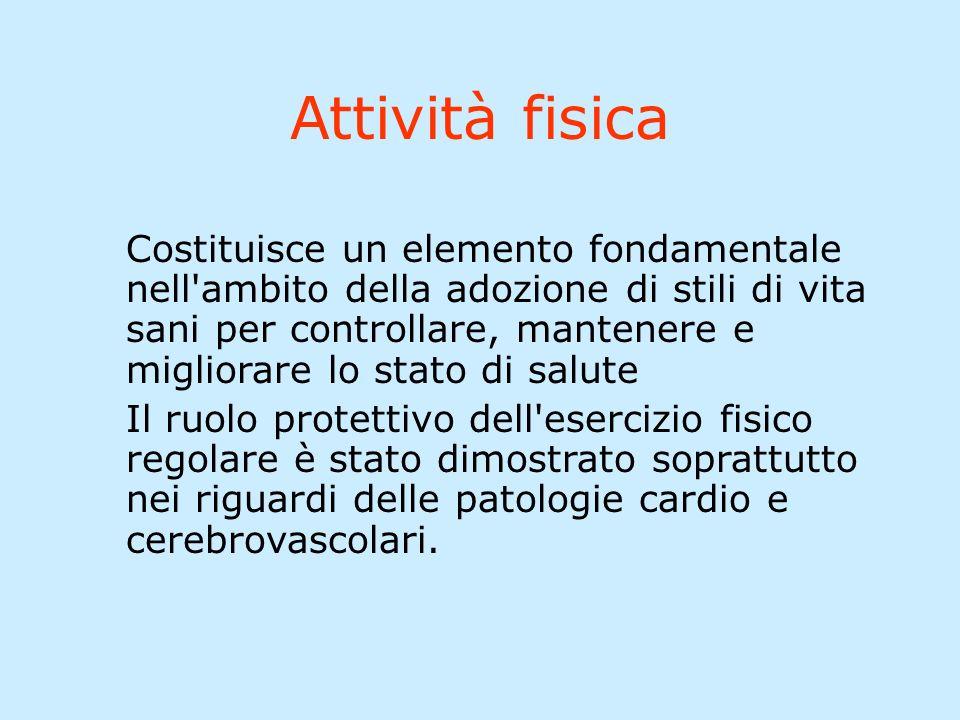 Attività fisica Costituisce un elemento fondamentale nell'ambito della adozione di stili di vita sani per controllare, mantenere e migliorare lo stato