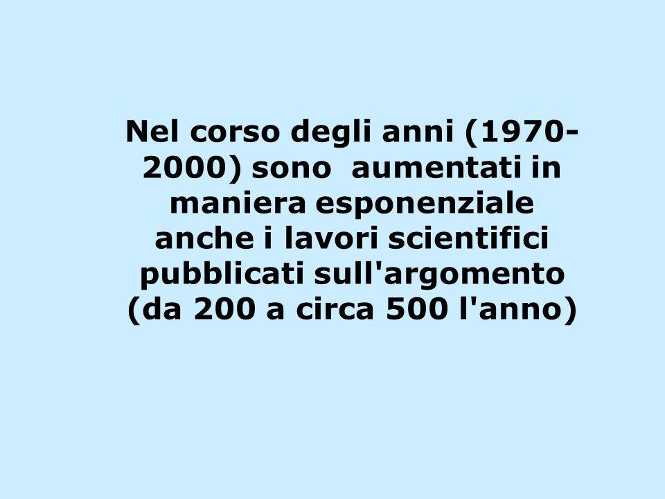 Nel corso degli anni (1970- 2000) sono aumentati in maniera esponenziale anche i lavori scientifici pubblicati sull argomento (da 200 a circa 500 l anno)