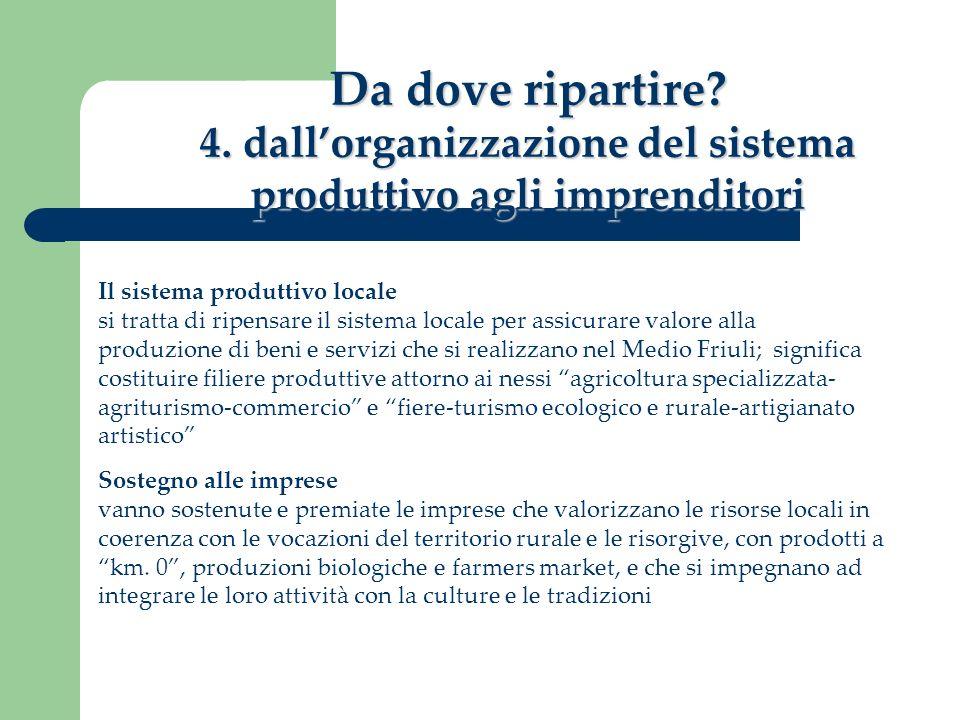 Da dove ripartire? 4. dallorganizzazione del sistema produttivo agli imprenditori Il sistema produttivo locale si tratta di ripensare il sistema local