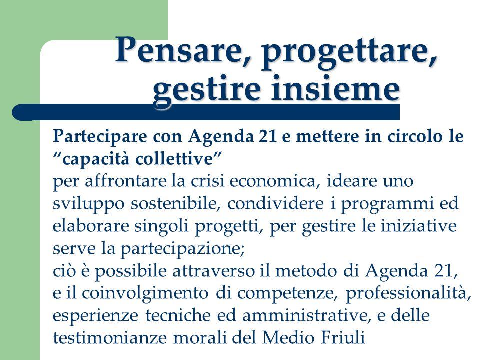 Pensare, progettare, gestire insieme Partecipare con Agenda 21 e mettere in circolo le capacità collettive per affrontare la crisi economica, ideare u