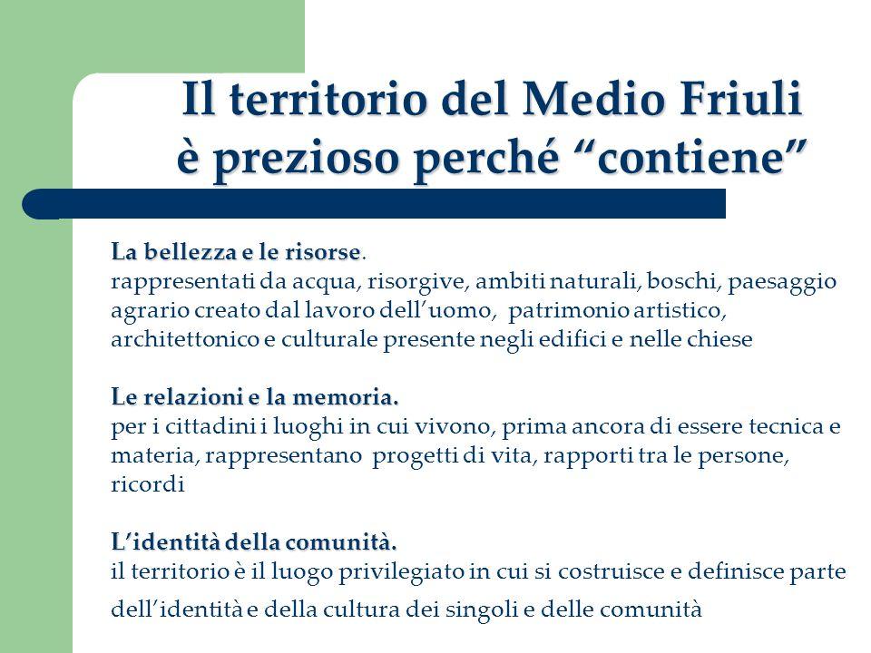 Il territorio del Medio Friuli è prezioso perché contiene La bellezza e le risorse La bellezza e le risorse. rappresentati da acqua, risorgive, ambiti