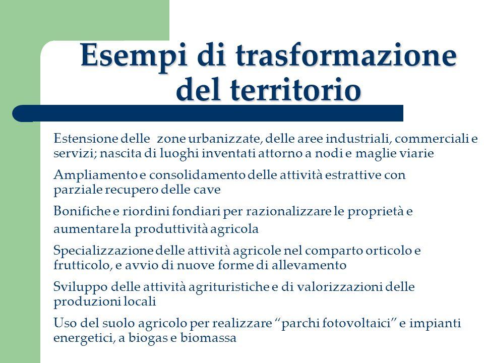 Esempi di trasformazione del territorio Estensione delle zone urbanizzate, delle aree industriali, commerciali e servizi; nascita di luoghi inventati