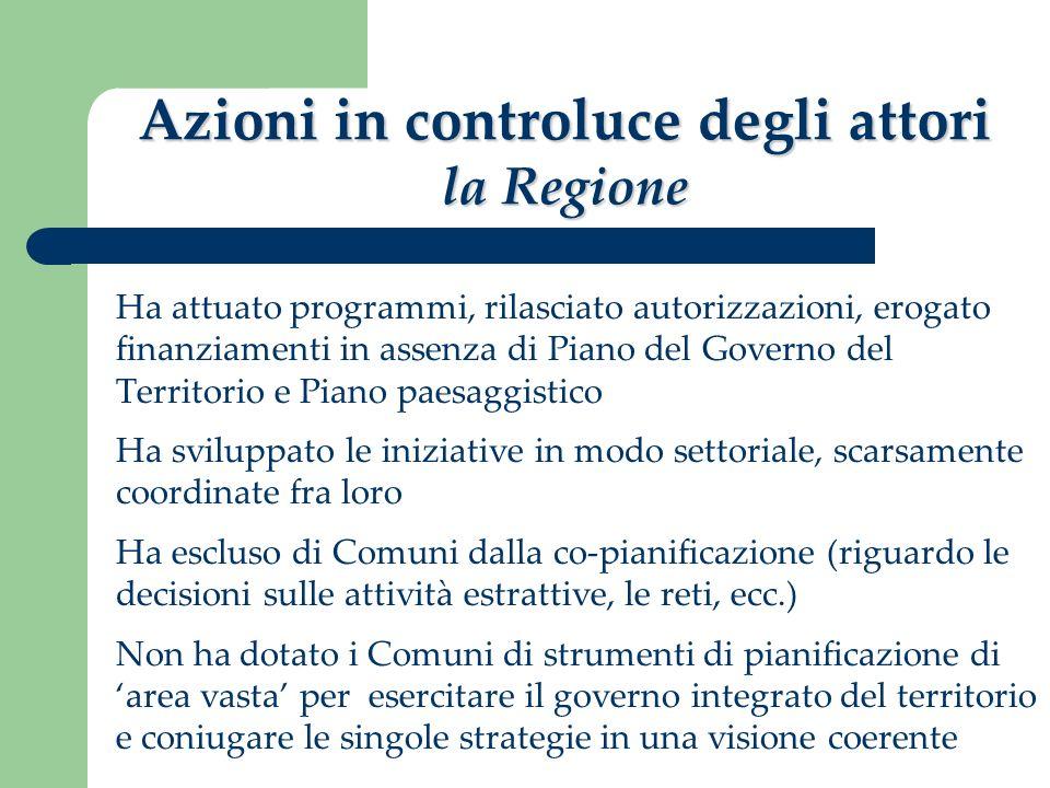 Azioni in controluce degli attori la Regione Ha attuato programmi, rilasciato autorizzazioni, erogato finanziamenti in assenza di Piano del Governo de