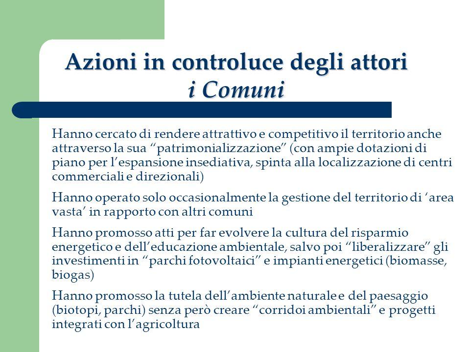 Azioni in controluce degli attori i Comuni Hanno cercato di rendere attrattivo e competitivo il territorio anche attraverso la sua patrimonializzazion