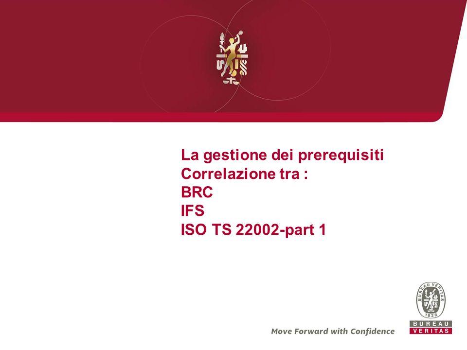 La gestione dei prerequisiti Correlazione tra : BRC IFS ISO TS 22002-part 1