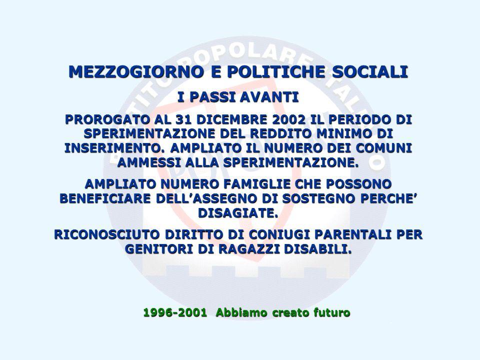 1996-2001 Abbiamo creato futuro MEZZOGIORNO E POLITICHE SOCIALI I PASSI AVANTI PROROGATO AL 31 DICEMBRE 2002 IL PERIODO DI SPERIMENTAZIONE DEL REDDITO MINIMO DI INSERIMENTO.