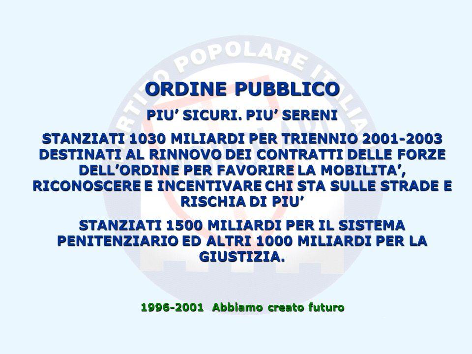 1996-2001 Abbiamo creato futuro ORDINE PUBBLICO PIU SICURI.