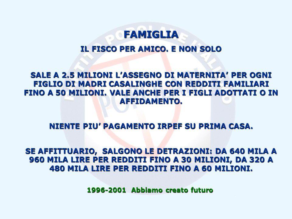 1996-2001 Abbiamo creato futuro FAMIGLIA IL FISCO PER AMICO.