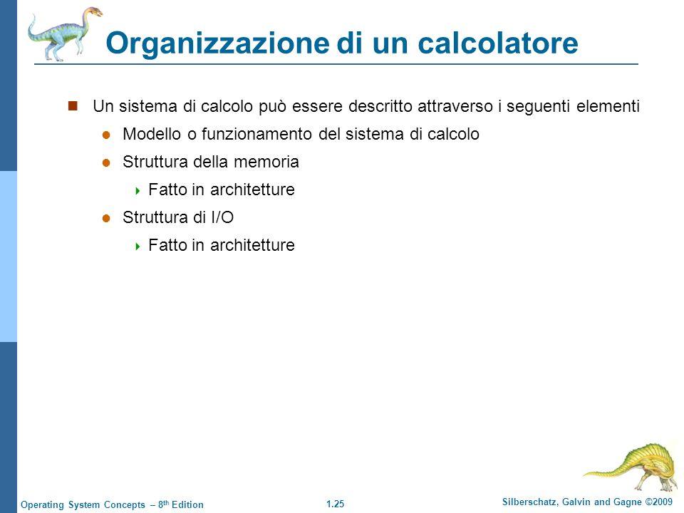 1.25 Silberschatz, Galvin and Gagne ©2009 Operating System Concepts – 8 th Edition Un sistema di calcolo può essere descritto attraverso i seguenti el