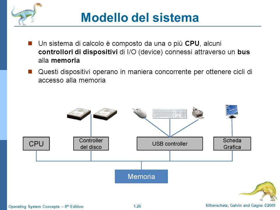 1.26 Silberschatz, Galvin and Gagne ©2009 Operating System Concepts – 8 th Edition Modello del sistema Un sistema di calcolo è composto da una o più C