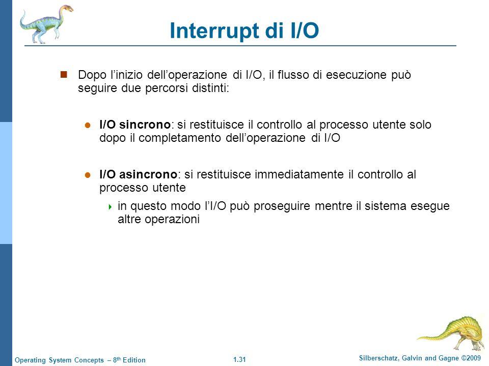 1.31 Silberschatz, Galvin and Gagne ©2009 Operating System Concepts – 8 th Edition Interrupt di I/O Dopo linizio delloperazione di I/O, il flusso di e