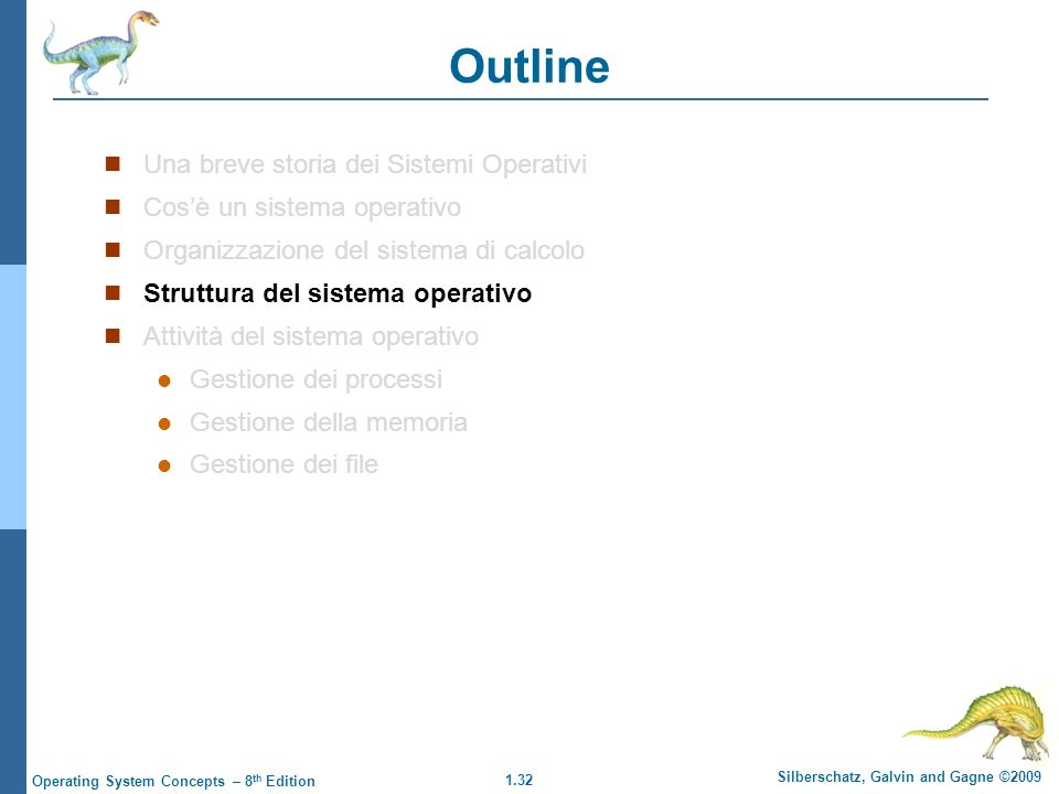 1.33 Silberschatz, Galvin and Gagne ©2009 Operating System Concepts – 8 th Edition Struttura del Sistema Operativo I Sistemi Operativi possono essere progettati utilizzando diversi criteri, i più comuni sono: Multiprogrammazione Timesharing (o multitasking)