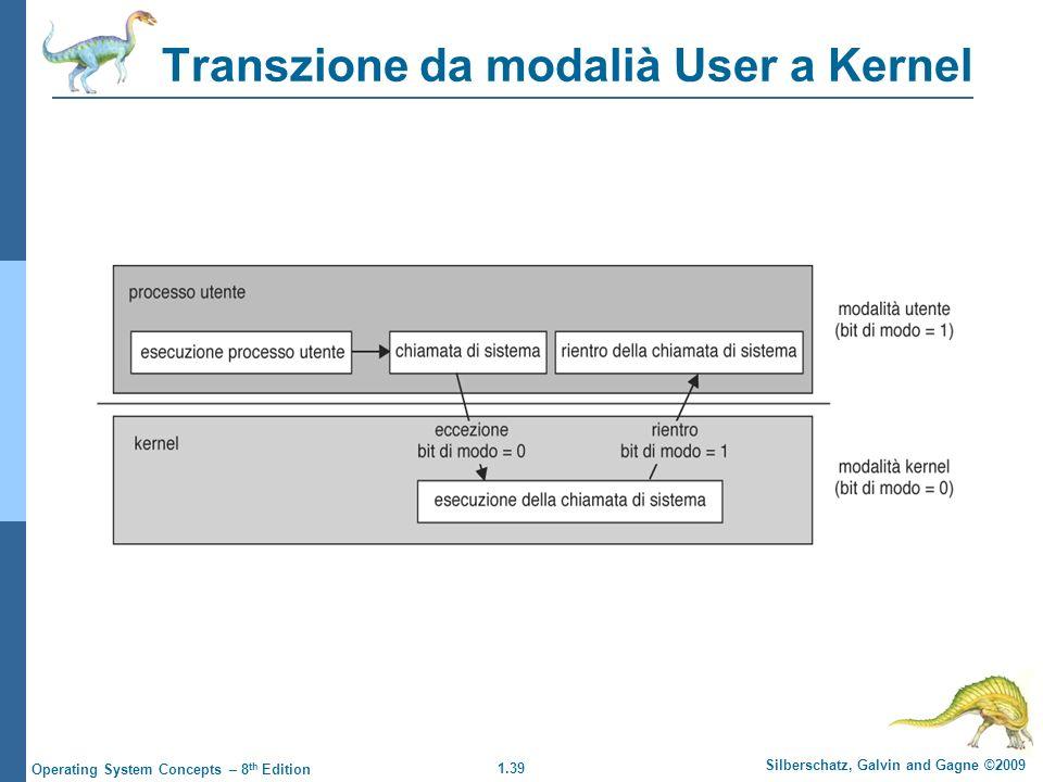 1.39 Silberschatz, Galvin and Gagne ©2009 Operating System Concepts – 8 th Edition Transzione da modalià User a Kernel