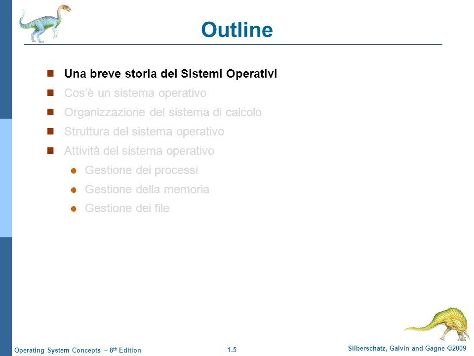 1.5 Silberschatz, Galvin and Gagne ©2009 Operating System Concepts – 8 th Edition Outline Una breve storia dei Sistemi Operativi Cosè un sistema opera
