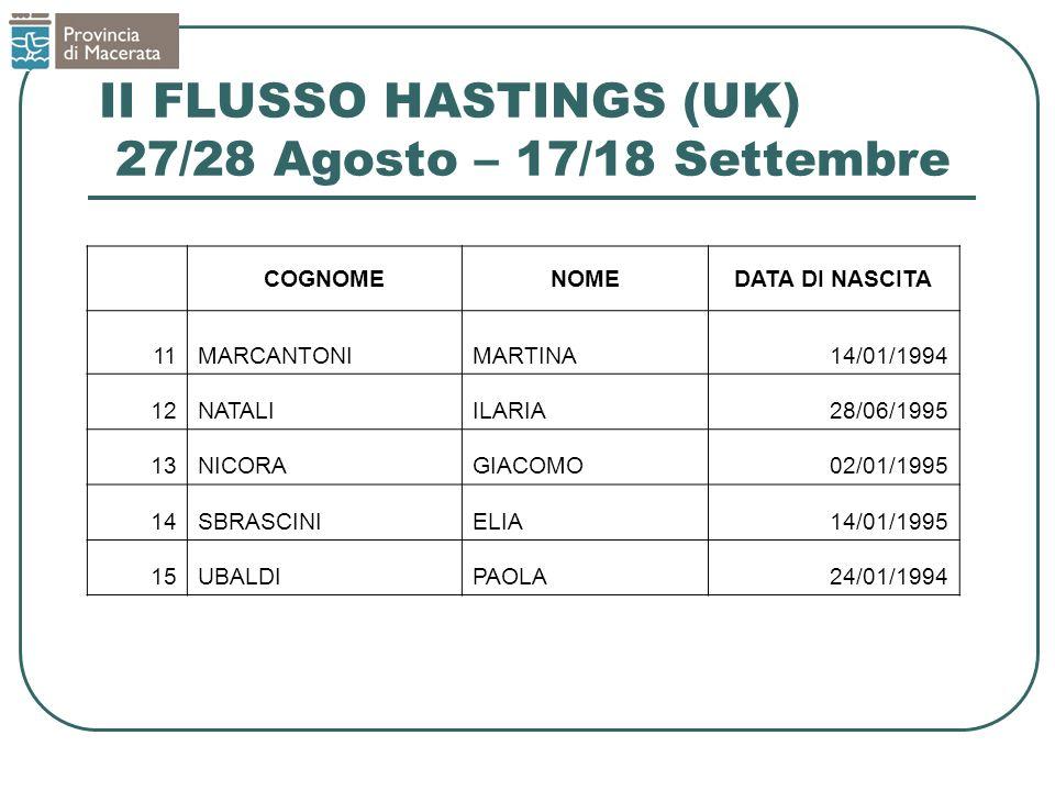 II FLUSSO HASTINGS (UK) 27/28 Agosto – 17/18 Settembre COGNOMENOMEDATA DI NASCITA 11MARCANTONIMARTINA14/01/1994 12NATALIILARIA28/06/1995 13NICORAGIACO