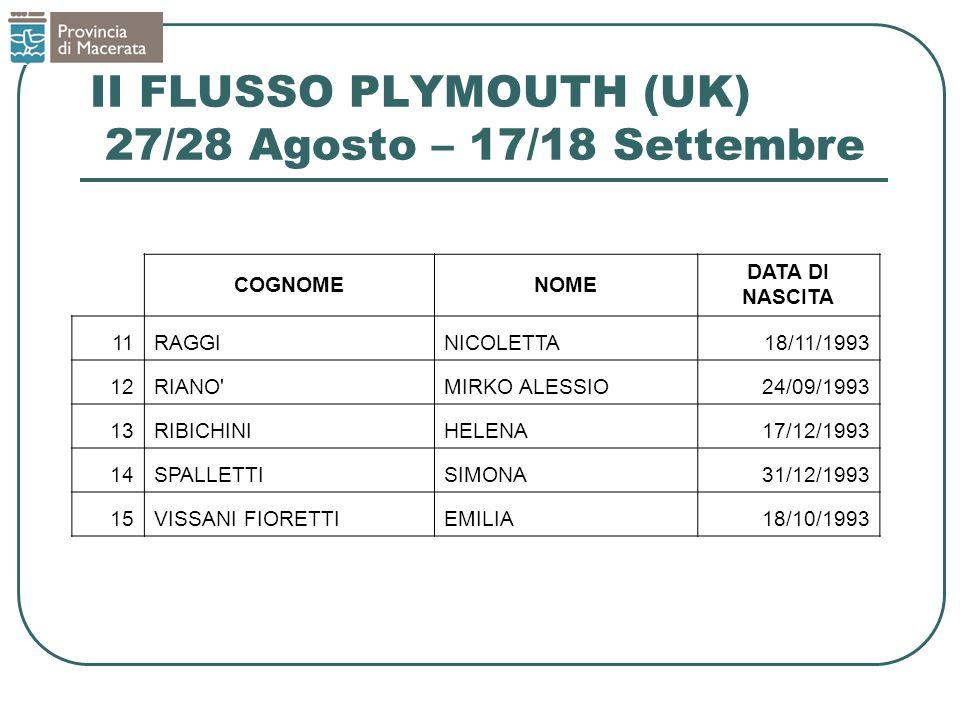 II FLUSSO PLYMOUTH (UK) 27/28 Agosto – 17/18 Settembre COGNOMENOME DATA DI NASCITA 11RAGGINICOLETTA18/11/1993 12RIANO MIRKO ALESSIO24/09/1993 13RIBICHINIHELENA17/12/1993 14SPALLETTISIMONA31/12/1993 15VISSANI FIORETTIEMILIA18/10/1993