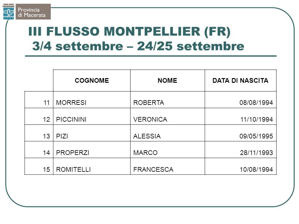 III FLUSSO MONTPELLIER (FR) 3/4 settembre – 24/25 settembre COGNOMENOMEDATA DI NASCITA 11MORRESIROBERTA08/08/1994 12PICCININIVERONICA11/10/1994 13PIZI