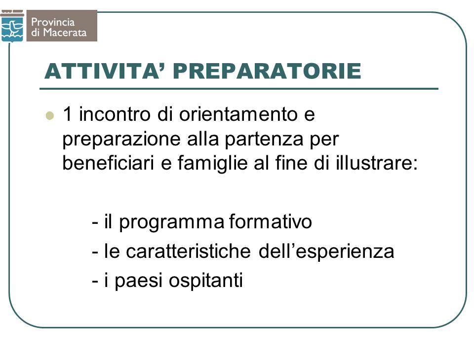 ATTIVITA PREPARATORIE 1 incontro di orientamento e preparazione alla partenza per beneficiari e famiglie al fine di illustrare: - il programma formativo - le caratteristiche dellesperienza - i paesi ospitanti