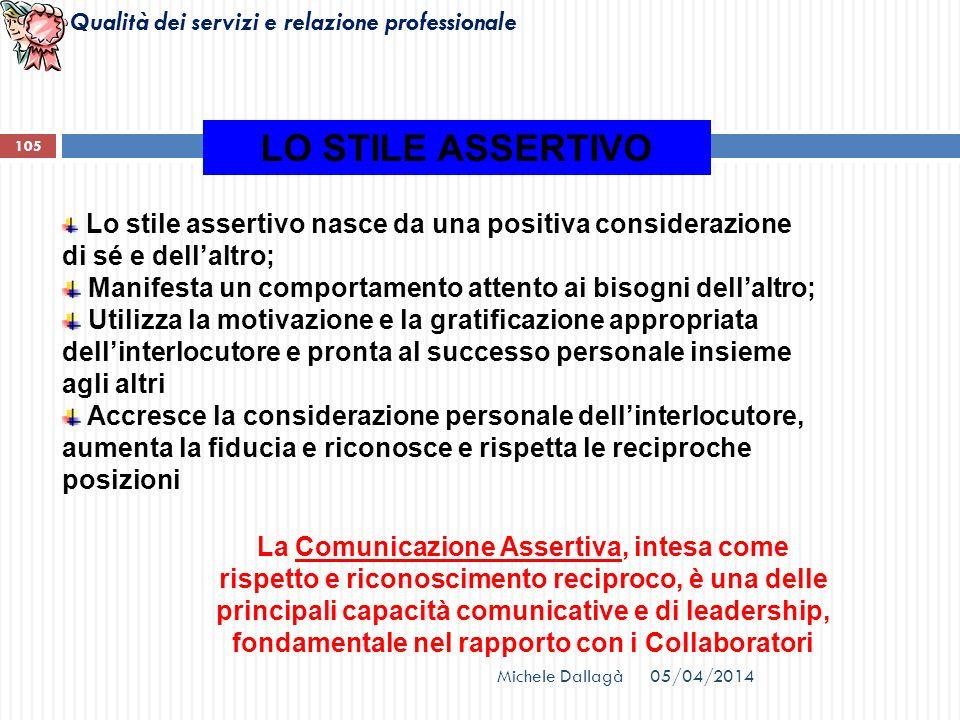 Qualità dei servizi e relazione professionale Lo stile assertivo nasce da una positiva considerazione di sé e dellaltro; Manifesta un comportamento at